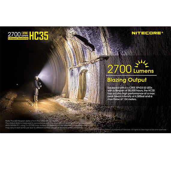 Linterna Frontal LED Nitecore 2700 lúmenes Recargable USB HC35- Image 28