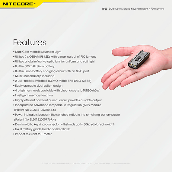 Linterna Compacta LED Nitecore 700 lúmenes Recargable USB TIP SE Gris- Image 5