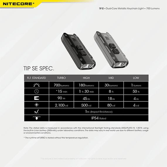 Linterna Compacta LED Nitecore 700 lúmenes Recargable USB TIP SE Gris- Image 6