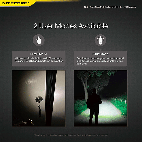 Linterna Compacta LED Nitecore 700 lúmenes Recargable USB TIP SE Gris- Image 15