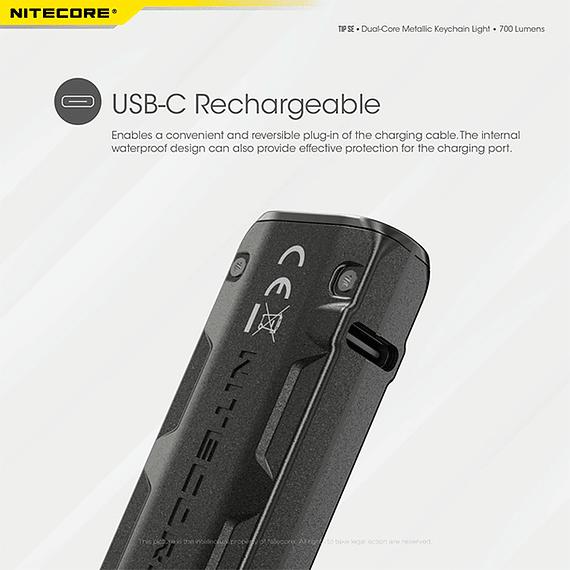 Linterna Compacta LED Nitecore 700 lúmenes Recargable USB TIP SE Gris- Image 22