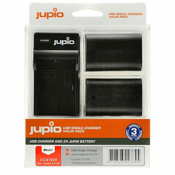 Batería Reemplazo Jupio Canon LP-E6 Kit 2x con Cargador USB- Image 1
