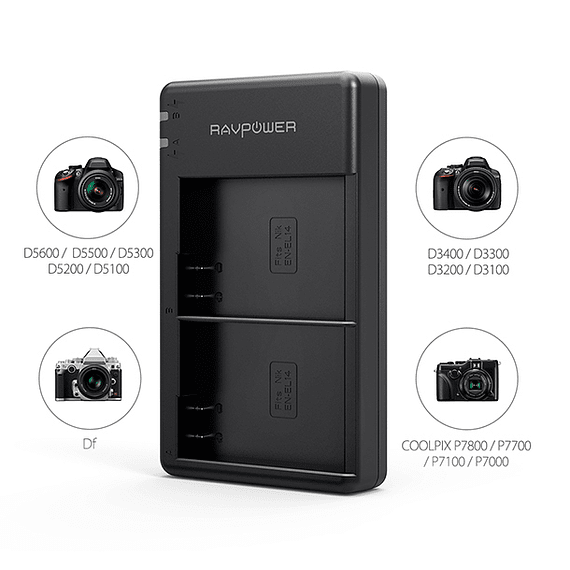 Batería Reemplazo RAVPower Nikon EN-EL14a Kit 2x con Cargador USB- Image 4