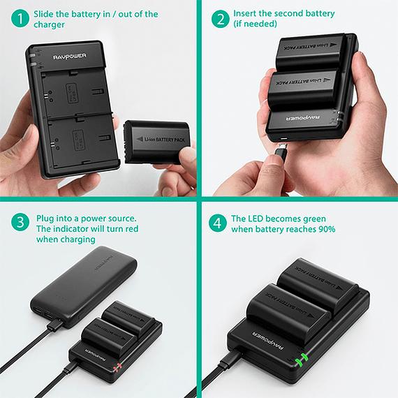 Batería Reemplazo RAVPower Canon LP-E6N Kit 2x con Cargador USB- Image 6