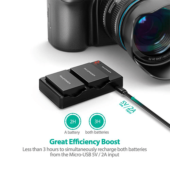 Batería Reemplazo RAVPower Canon LP-E8 Kit 2x con Cargador USB- Image 4