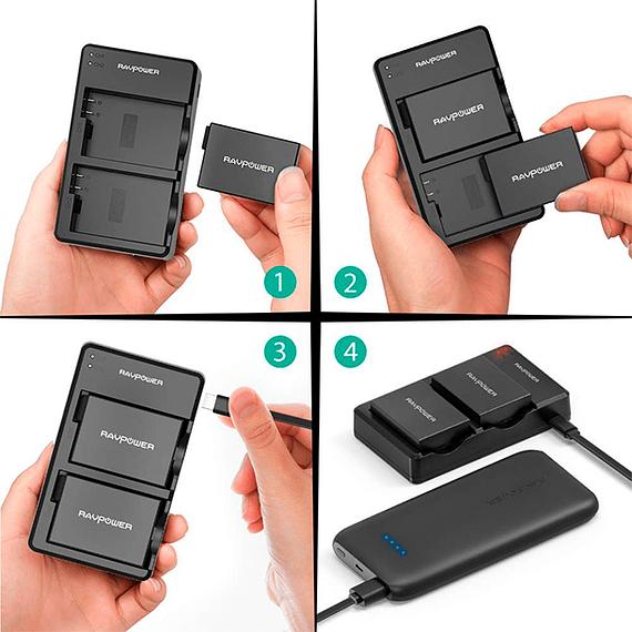 Batería Reemplazo RAVPower Canon LP-E8 Kit 2x con Cargador USB- Image 8