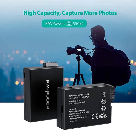 Batería Reemplazo RAVPower Canon LP-E8 Kit 2x con Cargador USB- Image 10