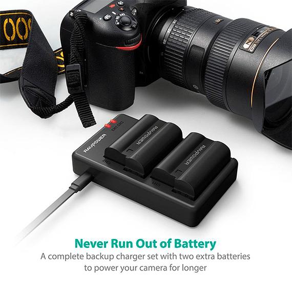 Batería Reemplazo RAVPower Nikon EN-EL15 Kit 2x con Cargador USB- Image 5