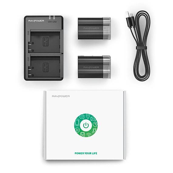 Batería Reemplazo RAVPower Nikon EN-EL15 Kit 2x con Cargador USB- Image 6