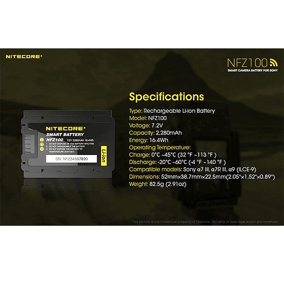 Batería Reemplazo Nitecore Sony NFZ100 con Bluetooth- Image 5