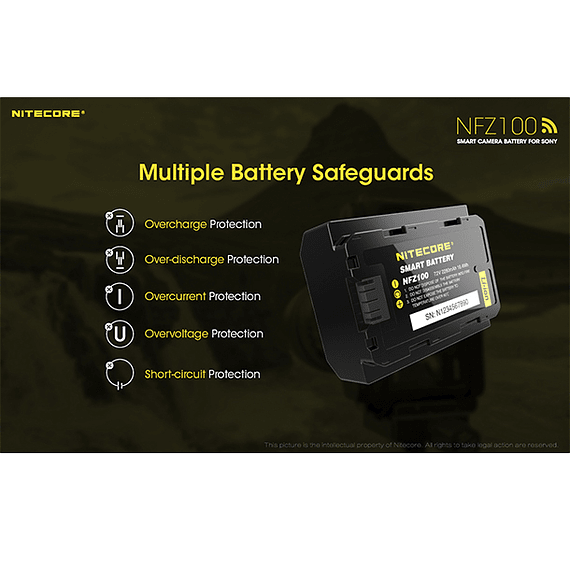 Batería Reemplazo Nitecore Sony NFZ100 con Bluetooth- Image 7