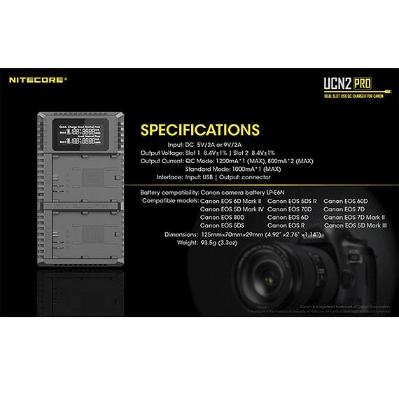 Cargador Nitecore UCN2 PRO Dual-Slot USB para Canon LP-E6N- Image 6