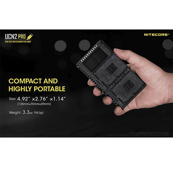 Cargador Nitecore UCN2 PRO Dual-Slot USB para Canon LP-E6N- Image 8