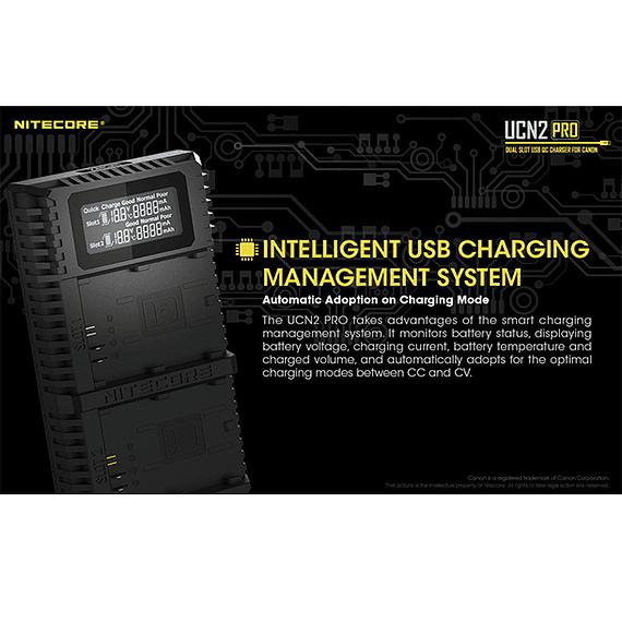 Cargador Nitecore UCN2 PRO Dual-Slot USB para Canon LP-E6N- Image 13