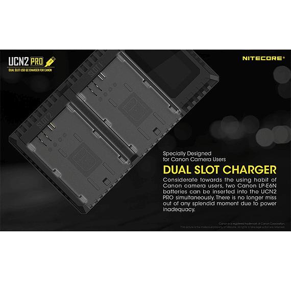 Cargador Nitecore UCN2 PRO Dual-Slot USB para Canon LP-E6N- Image 15