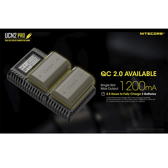 Cargador Nitecore UCN2 PRO Dual-Slot USB para Canon LP-E6N- Image 17
