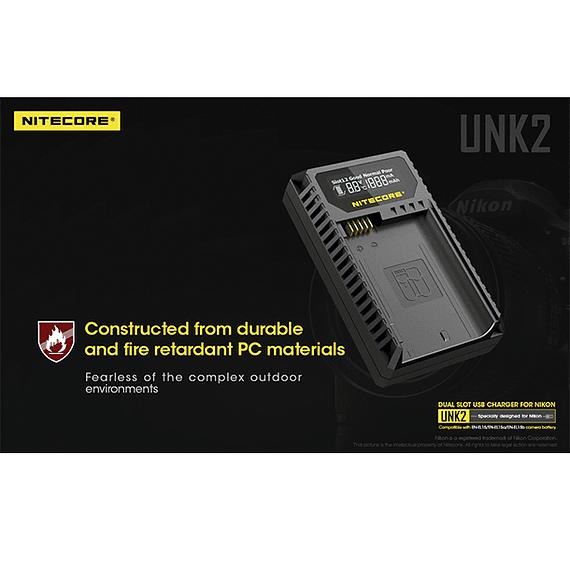Cargador Nitecore UNK2 Dual-Slot USB para Nikon EN-EL15 y EN-EL15A- Image 5