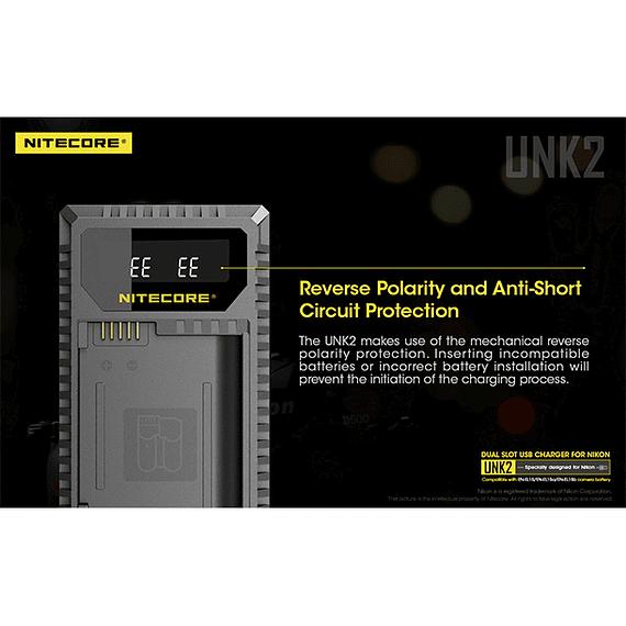 Cargador Nitecore UNK2 Dual-Slot USB para Nikon EN-EL15 y EN-EL15A- Image 6