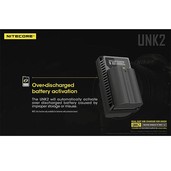 Cargador Nitecore UNK2 Dual-Slot USB para Nikon EN-EL15 y EN-EL15A- Image 7