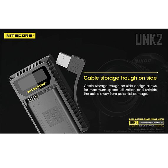 Cargador Nitecore UNK2 Dual-Slot USB para Nikon EN-EL15 y EN-EL15A- Image 8