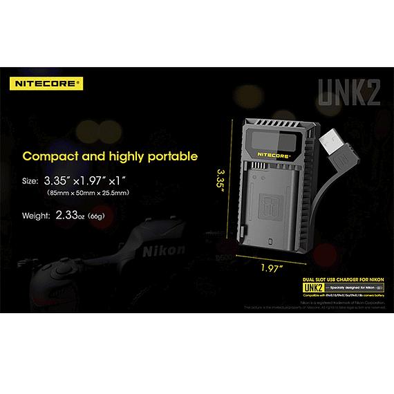 Cargador Nitecore UNK2 Dual-Slot USB para Nikon EN-EL15 y EN-EL15A- Image 9