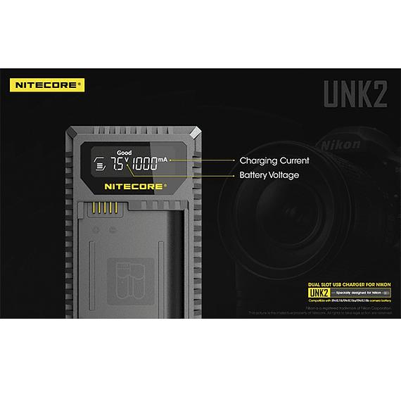 Cargador Nitecore UNK2 Dual-Slot USB para Nikon EN-EL15 y EN-EL15A- Image 11