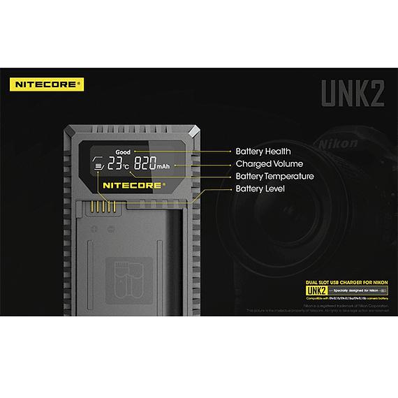 Cargador Nitecore UNK2 Dual-Slot USB para Nikon EN-EL15 y EN-EL15A- Image 12