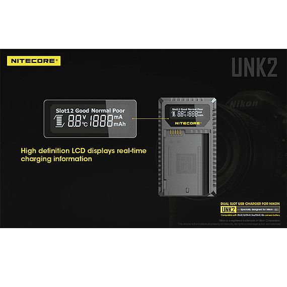 Cargador Nitecore UNK2 Dual-Slot USB para Nikon EN-EL15 y EN-EL15A- Image 13