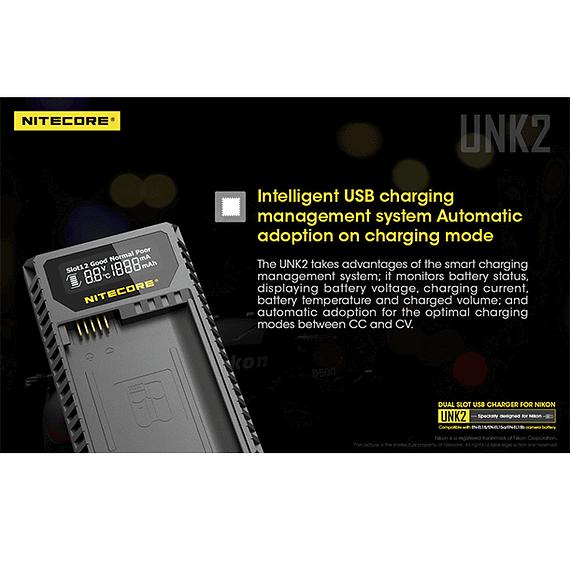 Cargador Nitecore UNK2 Dual-Slot USB para Nikon EN-EL15 y EN-EL15A- Image 14