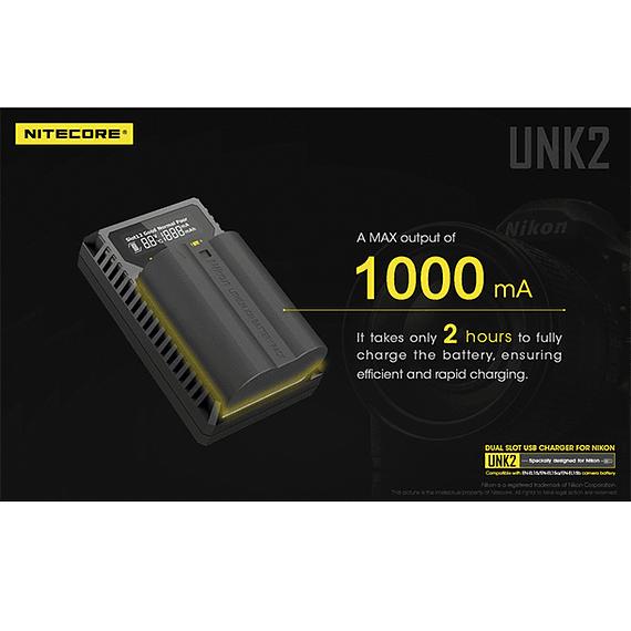 Cargador Nitecore UNK2 Dual-Slot USB para Nikon EN-EL15 y EN-EL15A- Image 16