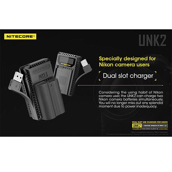 Cargador Nitecore UNK2 Dual-Slot USB para Nikon EN-EL15 y EN-EL15A- Image 17