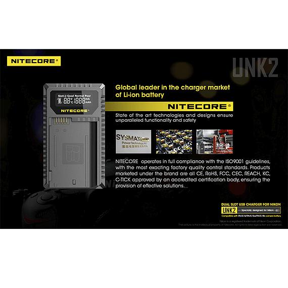 Cargador Nitecore UNK2 Dual-Slot USB para Nikon EN-EL15 y EN-EL15A- Image 18