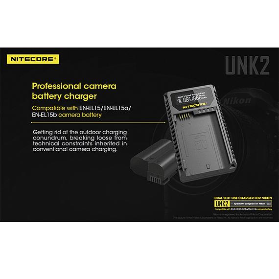 Cargador Nitecore UNK2 Dual-Slot USB para Nikon EN-EL15 y EN-EL15A- Image 19