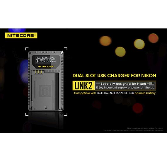Cargador Nitecore UNK2 Dual-Slot USB para Nikon EN-EL15 y EN-EL15A- Image 20