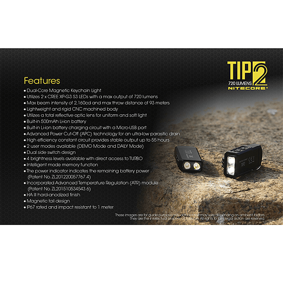 Linterna Compacta LED Nitecore 720 lúmenes Recargable USB TIP2- Image 6