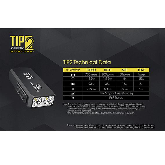 Linterna Compacta LED Nitecore 720 lúmenes Recargable USB TIP2- Image 7