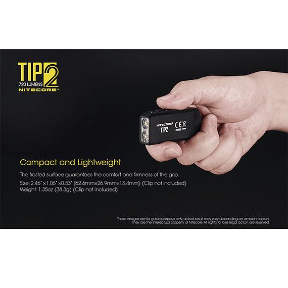 Linterna Compacta LED Nitecore 720 lúmenes Recargable USB TIP2- Image 8
