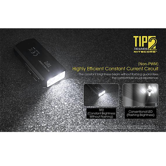 Linterna Compacta LED Nitecore 720 lúmenes Recargable USB TIP2- Image 10