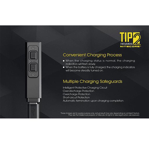 Linterna Compacta LED Nitecore 720 lúmenes Recargable USB TIP2- Image 17