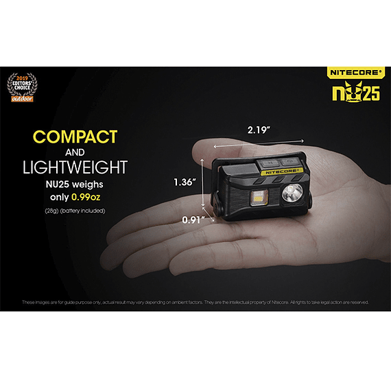 Linterna Frontal LED Nitecore 360 lúmenes Recargable USB NU25 Negro- Image 10