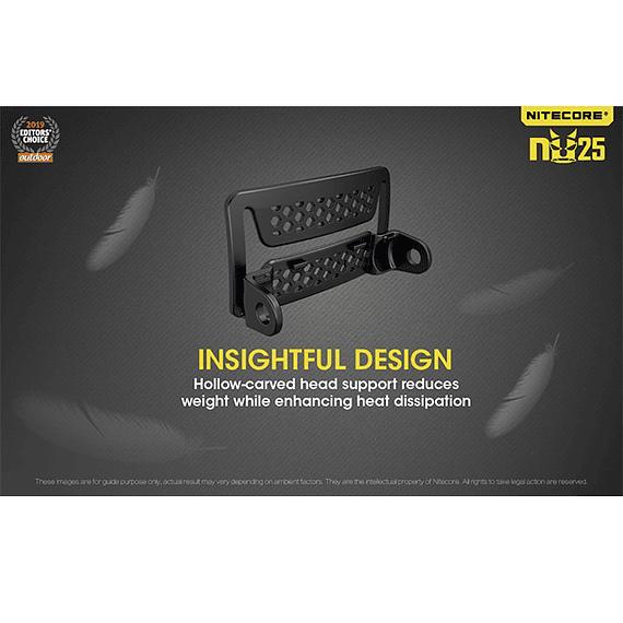 Linterna Frontal LED Nitecore 360 lúmenes Recargable USB NU25 Negro- Image 12