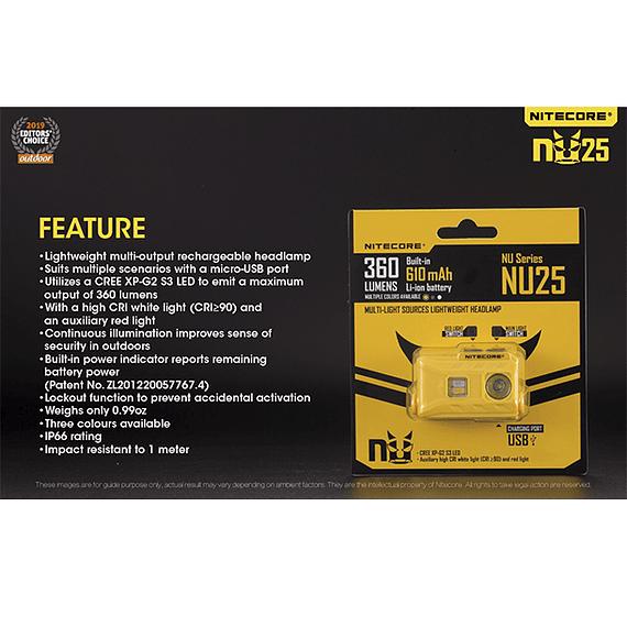 Linterna Frontal LED Nitecore 360 lúmenes Recargable USB NU25 Amarillo- Image 6