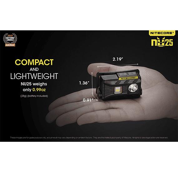 Linterna Frontal LED Nitecore 360 lúmenes Recargable USB NU25 Amarillo- Image 11