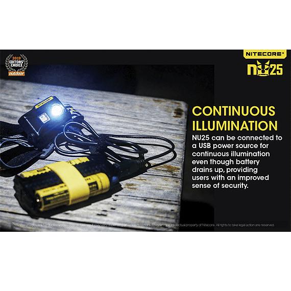 Linterna Frontal LED Nitecore 360 lúmenes Recargable USB NU25 Amarillo- Image 20