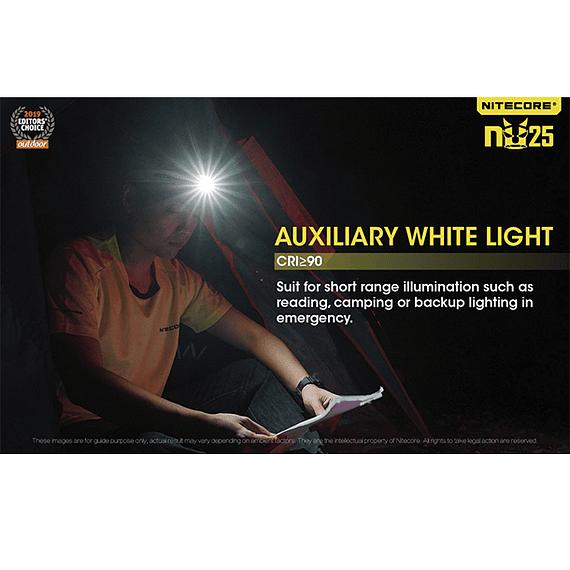 Linterna Frontal LED Nitecore 360 lúmenes Recargable USB NU25 Amarillo- Image 25