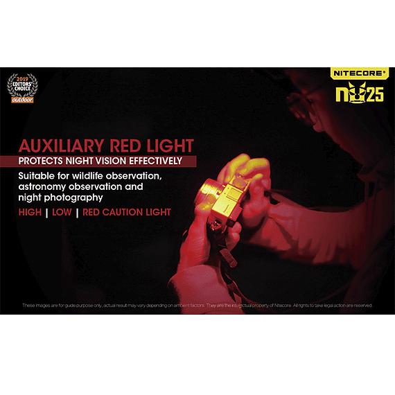 Linterna Frontal LED Nitecore 360 lúmenes Recargable USB NU25 Amarillo- Image 26