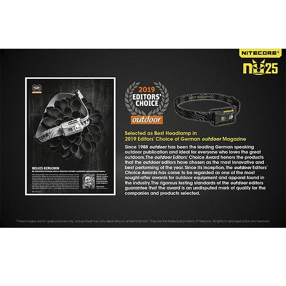 Linterna Frontal LED Nitecore 360 lúmenes Recargable USB NU25 Amarillo- Image 31