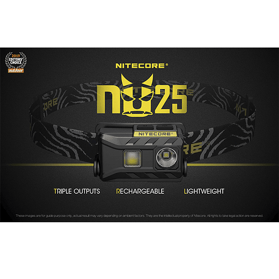 Linterna Frontal LED Nitecore 360 lúmenes Recargable USB NU25 Amarillo- Image 32