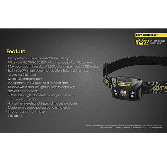 Linterna Frontal LED Nitecore 550 lúmenes Recargable USB NU32- Image 5