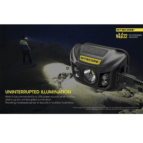 Linterna Frontal LED Nitecore 550 lúmenes Recargable USB NU32- Image 9